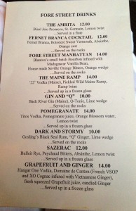 Fore Street's cocktail menu, including the ramp martini.
