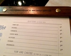 """Air Conditioned * Waitress Service"" for the Grey's Diner Bar oyster menu."