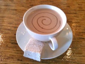 Posano's hot chocolate, with housemade marshmallow.